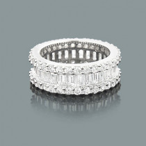 Diamond Eternity Rings: 14K Round Baguette Diamond Band 5.60ct