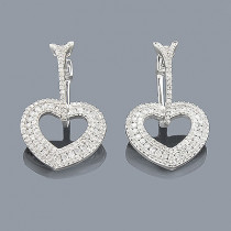Diamond Heart Earrings 14K 1.19ct