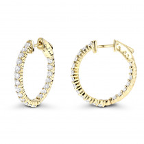 Diamond Hoop Earrings 2.20ct 14K Inside Out