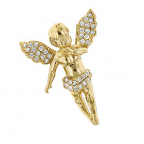 Baby Diamond Little Angel Pendant 14K Gold 0.25ct Mini Charm