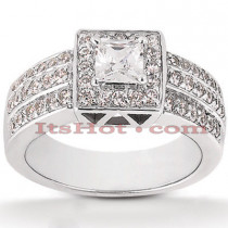 Halo Diamond Platinum Engagement Ring Mounting 0.92ct
