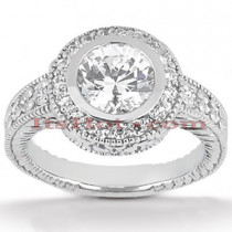 Halo Diamond Platinum Engagement Ring Setting 0.33ct