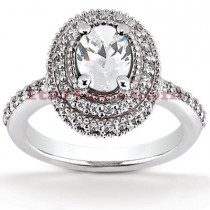 Halo Diamond Platinum Engagement Ring Setting 0.62ct