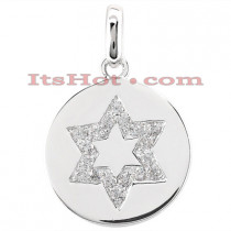 Diamond Star Of David Necklace 0.18ct in 14k Gold