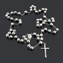 Disco Ball Rosary Beads: Sterling Silver Chain Necklace 9mm