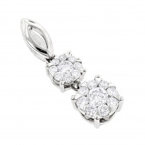 Double Cluster Diamond Pendant 0.49ct 18K Luccello Jewelry