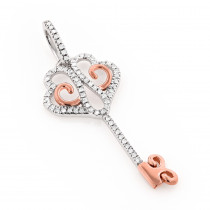 Elegant Gold Diamond Key Pendant for Women 0.12ct 10K