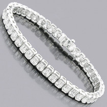 Emerald Cut Diamond Tennis Bracelet 16ct Platinum