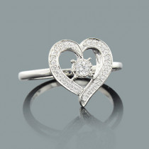 Engagement Heart Ring with Diamonds 0.21ct 10K Gold
