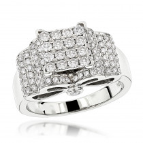 Engagement Rings: 14K Pave Diamond Ring 1.27ct