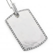 Engravable Dog Tags for Men: Gold Diamond Pendant 0.60ct 14K