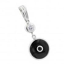 Evil Eye Jewelry 14K Diamond Evil Eye Pendant Black .10