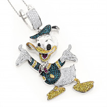 Fancy Diamond Pendants 10K Donald Duck Pendant 4.08ct