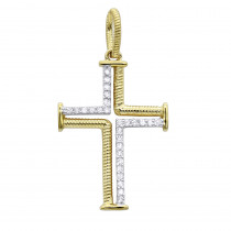 Fancy Round Diamond Cross Pendant For Women in Two Tone 14K Gold 0.2ct