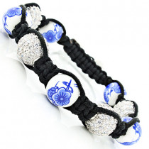Flower Bead Disco Ball Bracelet with White Crystals