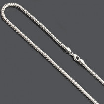 "Franco Chain Necklace 3mm 36"" Sterling Silver"