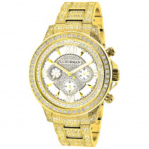 Fully Iced Out Mens Diamond Watch 3ct Yellow Gold Plt Luxurman Swiss Movmnt