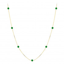 Gemstone By The Yard Chain: 14K Gold Womens Emerald Necklace 1.33ct
