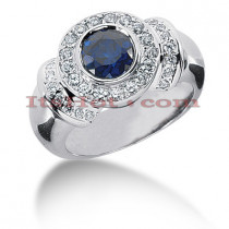 Gemstone Jewelry: Diamond and Sapphire Engagement Ring 14K 0.44ctd 1cts