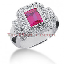 Gemstone Jewelry: Ladies Diamond and Ruby Ring 14K 0.57ctd 1ctr