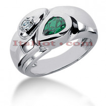 Gemstone Jewelry: Ladies Emerald and Diamond Ring 14K 0.10ctd 0.75cte