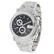Genuine Mens Gucci Chrono Diamond Watch 15ct