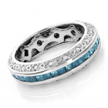 Gold Blue Diamond Wedding Band Eternity Ring 2.64ct