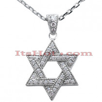 Gold Diamond Star of David Necklace 0.42ct