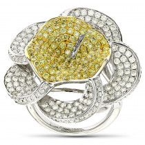 Gold Natural Yellow Diamond Flower Ring 14K 3.58ct