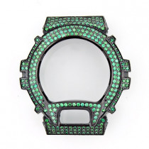 Green G-Shock Bezel with Crystals in Black Steel