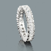 Thin Half Bezel Round Diamond Eternity Band 5ct 14K Gold