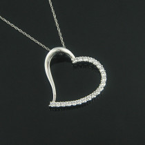 Heart Pendants 14K Diamond Floating Heart Pendant .61ct