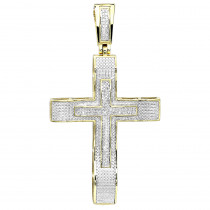 Hip Hop Jewelry 10K Gold Large Diamond Double Cross Pendant for Men 0.4ct