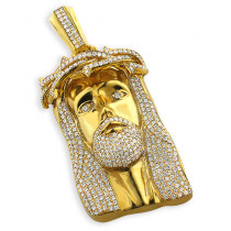 Hip Hop Jewelry: Diamond Jesus Piece Face Pendant 10K Gold 11.3ct