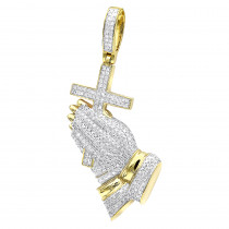 Hip Hop Jewelry Praying Hands and Cross Diamond Pendant for Men 10k Gold