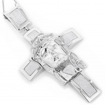 Hip Hop Jewelry: Sterling Silver Diamond Jesus Face Cross Pendant 1.54ct