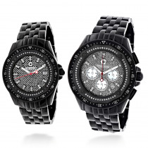His and Hers Watches: Centorum Chronograph Diamond Watch Set 1.05ct Black