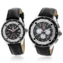 His and Hers Watches: Centorum Diamond Watch Set in Black 1.05ct