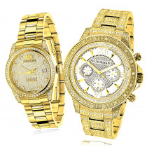 His and Hers Watches: Classic Luxurman Diamond Watch Set 2.75ct