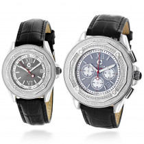 His and Hers Watches: Diamond Centorum Matching Watch Set 1.05