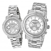 His and Hers Watches: Luxurman Oversized Diamond Watch Set 4.5ct