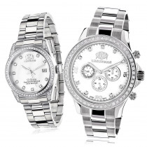 His and Hers Watches: White Gold Pltd Luxurman Diamond Watch Set 3.5ct