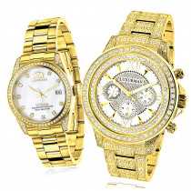 His and Hers Watches: Yellow Gold Plated Luxurman Diamond Watches 4.5ct