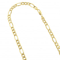 Hollow 10k Gold Figaro Chain For Men & Women 6.5mm Wide