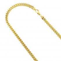 Hollow 14k Gold Franco Chain For Men Square 4.5mm Wide