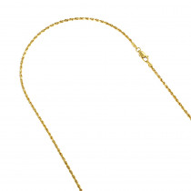 Hollow 14k Gold Rope Chain For Men & Women 1.5mm Wide