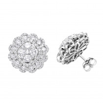 Huge 3 Carat Designer Diamond Stud Earrings For Women Cluster Flower Design