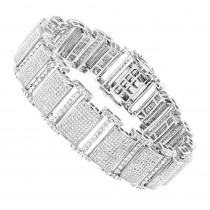 Iced Out Bracelets: 10K Pave Diamond Bracelet for Men 13.78