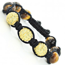 Iced Out Disco Ball Bracelet with Yellow Crystals
