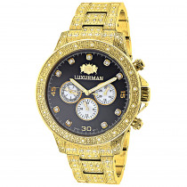 Iced Out Mens Diamond Watch 1.25ct Yellow Gold Plated Luxurman Liberty